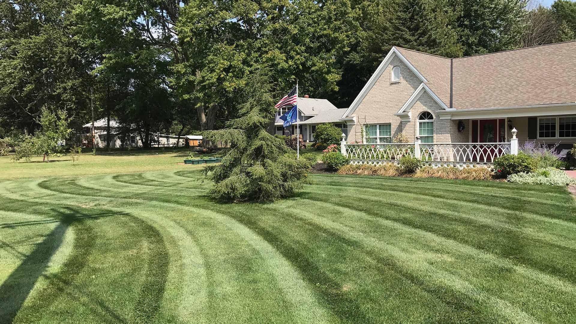 Mowing stripes in a well-maintained Geneva lawn.