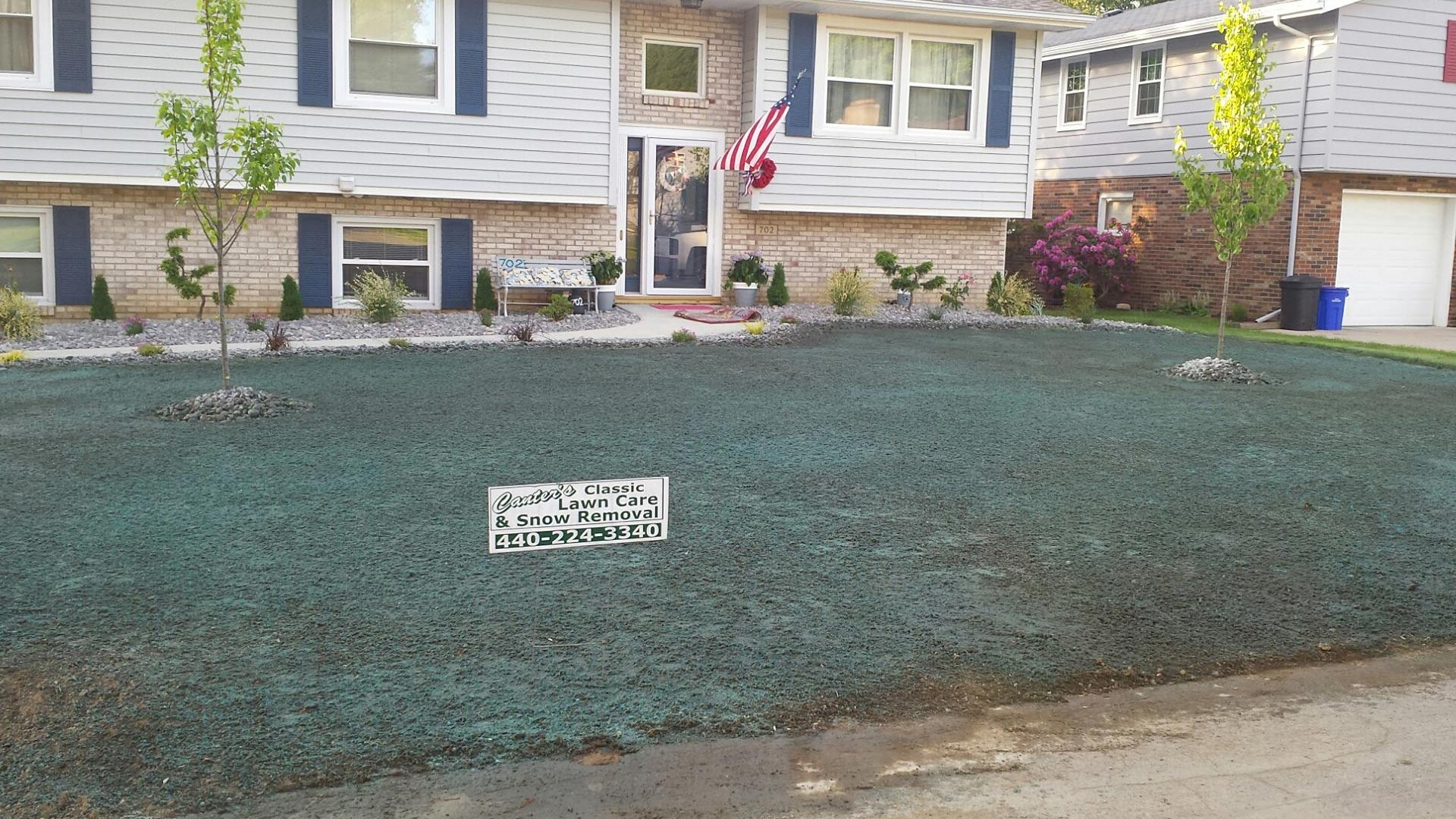 A recent hydroseeding of a residential property in Conneaut, OH.