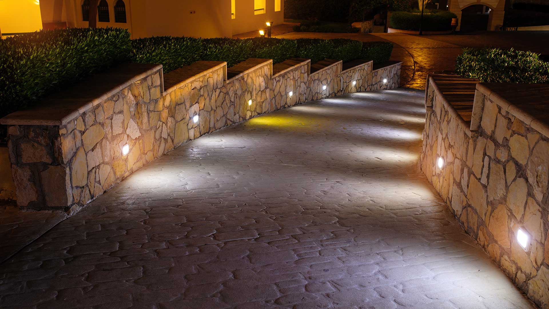 Outdoor lighting installation is a very popular service for us throughout our service areas.