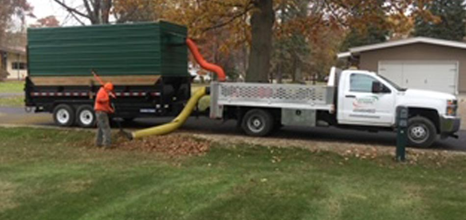 Out team members typically will blow leaves into a pile, when working in Ashtabula then our vacuum truck picks them up..