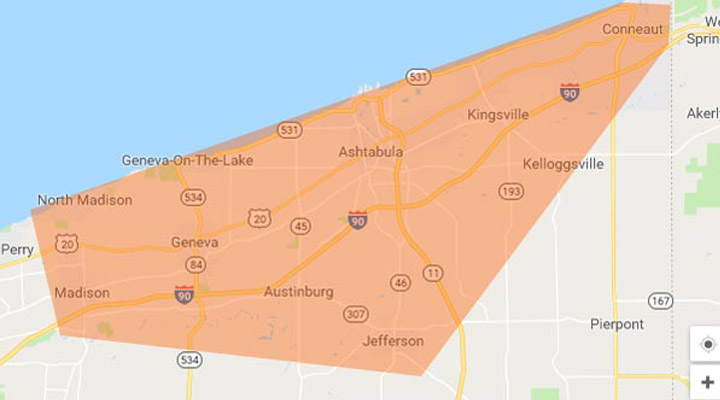 Our service area is the Greater Ashtabula, OH region.
