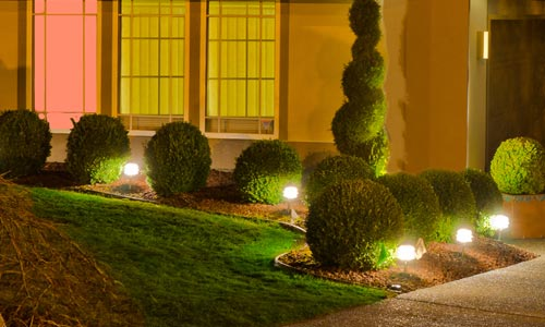 Landscape lighting illuminating trees and shrubs in the front of a home in Conneaut, OH.